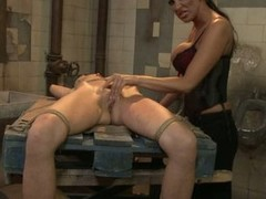 Mandy Bright tie a hot babe with wire on the table