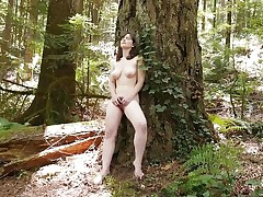 Sweet Raven Masturbating Outdoors
