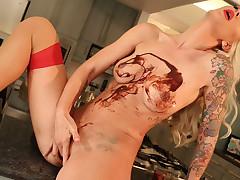 Brooke masturbates with food