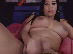 Breasty Shemale Hottie Plays Her Long Cock