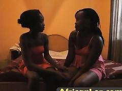 Skinny black lesbian wife fucking dildo her shy pussy ally