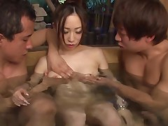 Japanese slut with a hairy cunt is ready for nasty fingering