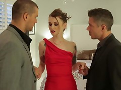 Misha Cross in beautiful long red dress and black stockings shows her small tits to two elegant guys then gets tag teamed. Tattooed lady gets her lovely pussy eaten out and sucks