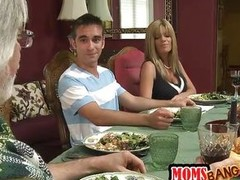 Logan Pierce is a lucky guy which have this babe golden-haired Avril Hall as his girlfriend. But this dinner makes him luckier when he finds out that her mommy is a excited milf. And both of `em are dirty bitches who can`t control their lips when they obt