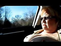 BBW Nude Flashing and Masturbating in Car