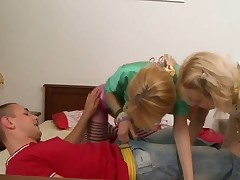 Blonde wench Vika shows her dick sucking talents in blowjob action with horny stud