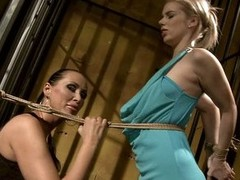Mandy Illuminated tie a rope in white peaches in sexy dress
