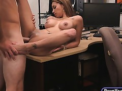 Big tits latina pawns her pussy and fucked by nasty pawn guy