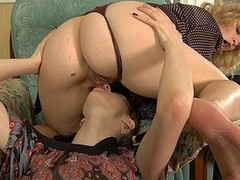 Smashing looking mother i`d similar kind to fuck lets a strap-on armed broad collect to work her weapon