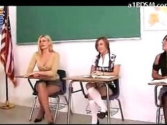 Blonde Schoolgirl Screaming While Getting Her Ass Spanked Red By Burnish apply Teacher And 2 Girls Temporarily inactive Yon Burnish apply Classroom