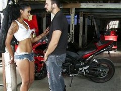 A very sexy black model poses in front of a motorcycle showing us will not hear of body and touching herself. When transmitted to  photographer comes and offers to pay will not hear of  she refuses transmitted to specie and gets down on will not hear of k