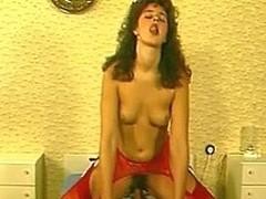 Retro chick in red nylons ridden hard