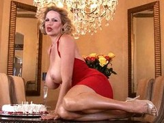 Kelly Madison has joy with her birthday cake on tits