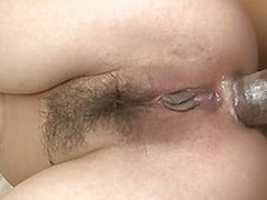 Sana Anju sucks a cock while she gets another dick shoved in her pussy. She gets her wrists grabbed while she`s fucked. She gets a juicy creampie in her hairy vagina. The cums drips from her pussy down to her tight asshole.