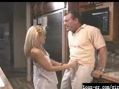 Hot Blondle Legal age teenager gives great cook jerking in kitchen
