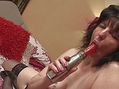 Scarla La Faux is an old mature lady who lays on a difficulty bed and masturbates herself off down a vibrator her husband bought her. Watch as she sucks on a difficulty thing and shoves a difficulty red vibrator into her old, saggy cunt.