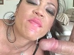 sexy Oriental Cutie sucks three massive dongs and gets a facial