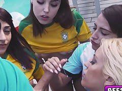 Stunning soccer babes hot group fucking action