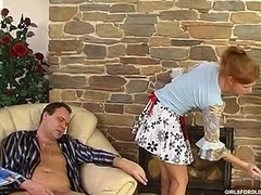 Fiery lass teasing an older male with her cutty petticoat aching for oral games