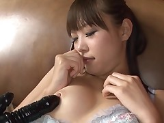 Japanese sluts gets shaggy vagina pounded with huge dick
