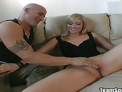 Blonde with bubbly booty and bald bush lets guy stick his thick ram rod in her mouth