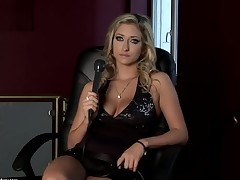 Blonde Karina Shay with giant tits fucking herself like mad in solo scene
