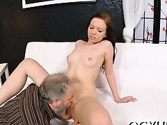 Luscious young babe sucks old pecker and gets pussy licked