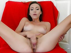Amber Faye fingers her taut ass and horny hairy pussy