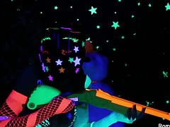 Romi & Dani lesbo black-light fun