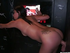 Brunette chica Jade Jantzen with round arse feels intense sexual while giving tugjob