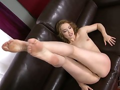 Kandall N with small tities and smooth snatch strips down to her bare skin and masturbates for camera