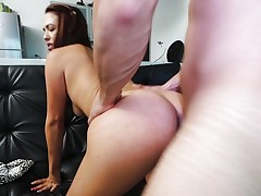 Cock riding brunette bent over and drilled hard