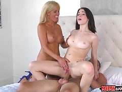 Teen girl caught milf fucking with her date