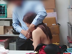 Skinny babe Naiomi Mae caught stealing and fucked