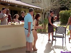 Sexy non-professional wife focuses attention to strangers' hard dicks