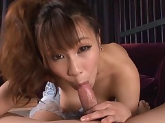 Asian strokes her own tits before giving fellatio