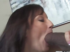 Breasty mom Stephanie Wylde takes two BBC in front of her son