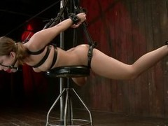 Hot indulge Remy Lacroix is tied up with darksome leather belts, her mouth is gagged with a ball together with that indulge has a laconic chair beneath her belly. The mistress rubs together with whips her pussy together with then uses suckers on her pleas