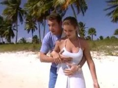 Erotic sex on the beach with his lady