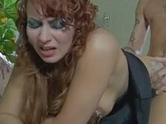 Red-haired older nympho tempts a serviceman to eat and fill will not hear of itchy muff