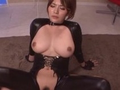 Spoils with the addition of busty Asian doll in the matter of leather suit rides a chubby one