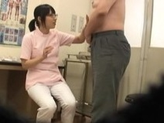 Slutty Asian nurse gives a lucky specimen pot-head