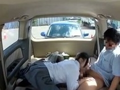 Japanese schoolgirl banged in a parking to each