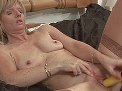 Horny English housewife and her sex tool