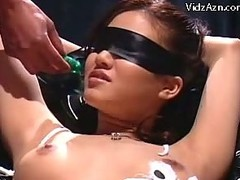 Blindfolded Girl In Bondage Squirting While Getting The brush Pussy Fingered