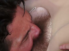 Pale skin brunette Nickey Huntsman in crotchless pantyhose plays with her perky tits as Tommy Gunn licks her hairy pussy. She gets eaten out and then sucks his rock hard dick