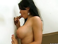 Latina is placing her huge tits into this guys mouth. She wants him to suck him. The 18 year old slut knows that men always go wild over them.