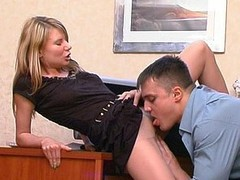 Cissified co-worker showing her pantyhosejob and dong-riding capacity at simulate