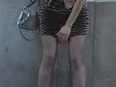 Wet tights and mini of a public pisser